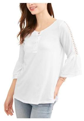 French Laundry Women's Soft Gauze Bell Sleeve Top