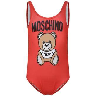 Moschino Girls Red Teddy Swimsuit