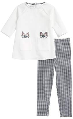 Pippa & Julie Sequin Cats Tunic & Gingham Leggings
