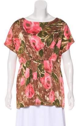 Marni Floral Print Cap Sleeve Top