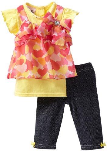 Little Lass Baby-Girls Infant 2 Piece Capri Set with Denim Look Leggings