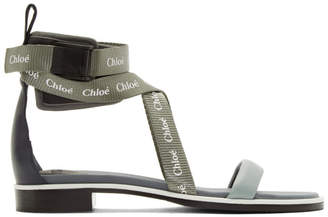 Chloé Grey and Green Veronica Sandals