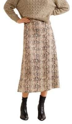92f4e9447b MANGO Snake-Print Midi Skirt
