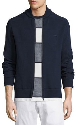 Lacoste Hybrid Track Jacket, Navy Blue/Waterfall $250 thestylecure.com