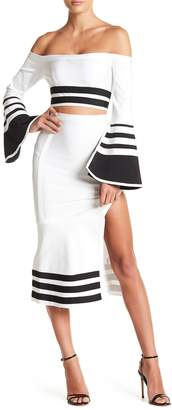 Wow Couture Striped Top & Skirt 2-Piece Set