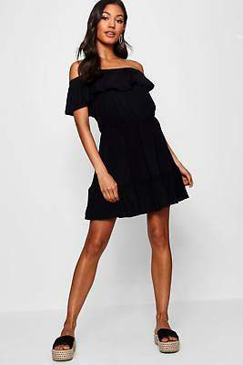 boohoo NEW Womens Off The Shoulder Ruffle Skater Dress in Viscose 5% Elastane