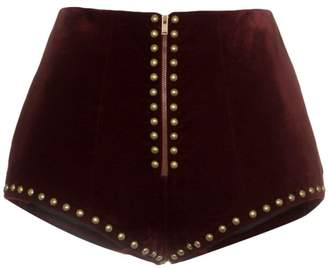 high waist stud embellished velvet shorts