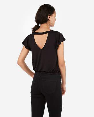 Express Back Cut-Out Flutter Sleeve Banded Tee
