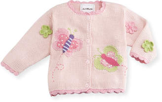 Artwalk Art Walk Butterflies Cotton Button-Front Sweater, Pink, Size 12-24 Months
