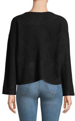 Quinn Textured Flare-Sleeve Crop Sweater