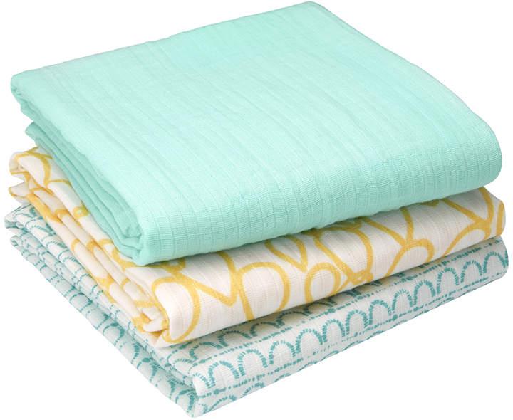 Happy Earth Organic Muslin Cotton Swaddle Blanket - Set of Three