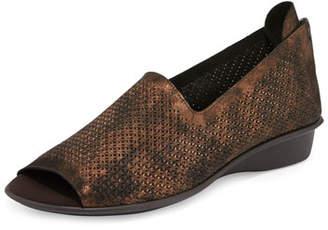 Sesto Meucci Eadan Open-Toe Laser-Cut Flat, Bronze Oasis $235 thestylecure.com