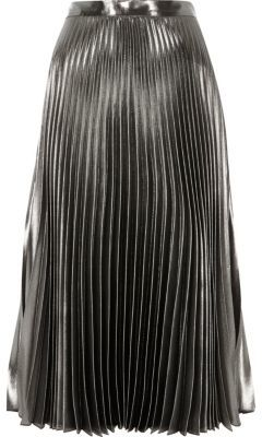 River IslandRiver Island Womens Silver metallic pleated skirt