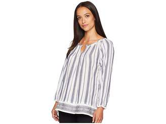 True Grit Dylan by Kenzie Pintuck Long Sleeve Tunic with Embroidered Border