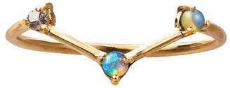 WWAKE Counting Collection Three-Step Triangle Diamond & Opal Ring