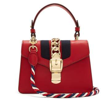 Gucci Sylvie Mini Leather Shoulder Bag - Womens - Red