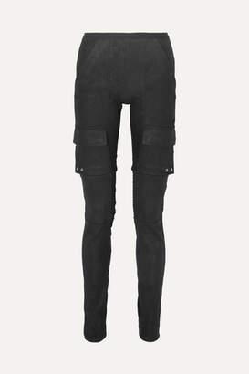 Rick Owens Cotton Blend-paneled Leather Skinny Pants - Black
