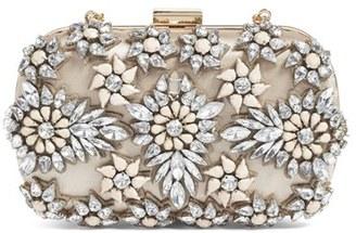 Natasha Couture Crystal Floral Box Clutch - Beige $128 thestylecure.com