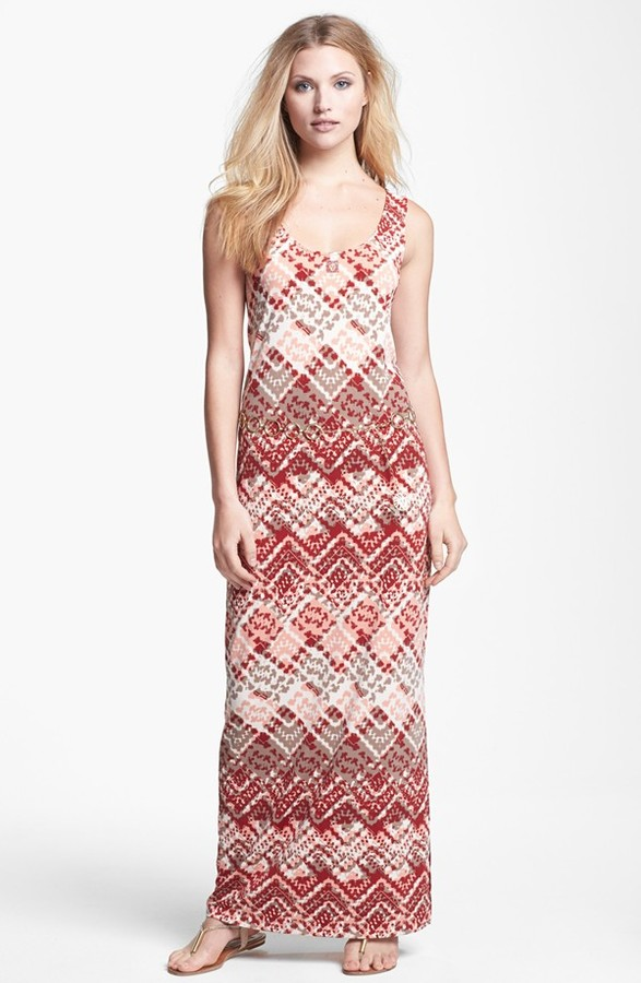 Anne Klein Argyle Print Maxi Dress