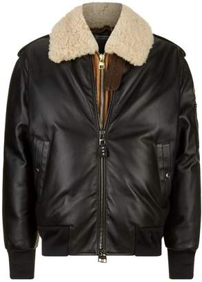 Alexander McQueen Leather Shearling Bomber Jacket