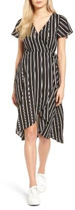 Women's Socialite Stripe Midi Wrap Dress $59 thestylecure.com