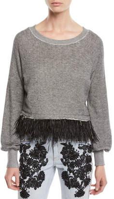 Le Superbe Super Fine Fringe Pullover Sweater w/ Feathers
