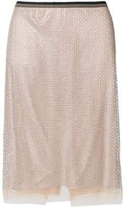 No.21 gemstone embellished pencil skirt