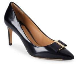 Salvatore Ferragamo Point Toe Bow Leather Pumps