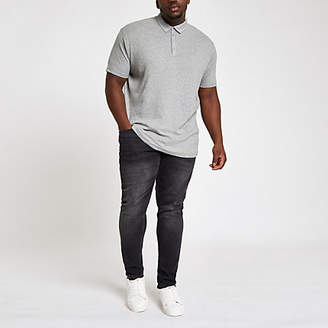 River Island Grey ribbed muscle fit polo shirt