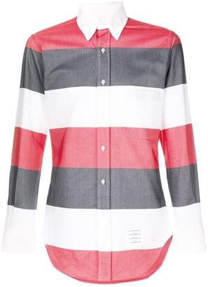 Thom Browne Rwb Rugby Stripe Oxford Shirt
