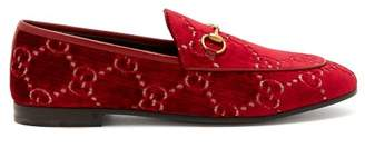 Gucci Jordaan Logo Jacquard Velvet Loafers - Womens - Red