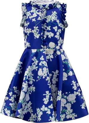 David Charles Floral Ruffle Fit & Flare Dress