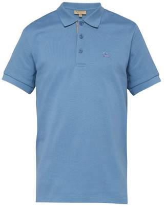 Burberry Logo Embroidered Cotton Pique Polo Shirt - Mens - Light Blue
