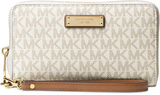 Michael Kors Signature Jet Set Item Large Flat Multi Function Phone Case