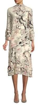 Valentino Floral-Print Silk Midi Dress