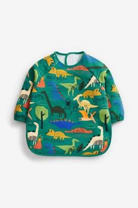 Next Boys Bright Dinosaur Print Long Sleeve Dribble Proof Bib - Green