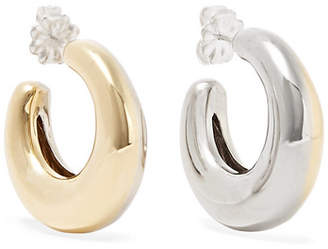 Leigh Miller - Two-tone Bubble Gold-tone And White Bronze Hoop Earrings - Silver