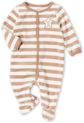 Absorba Newborn Boys) Tan Stripe Velour Footie