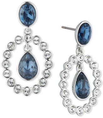 Givenchy Silver-Tone Crystal & Stone Orbital Drop Earrings