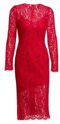 Dolce & Gabbana Dolce& Gabbana Women's Jackie Long-Sleeve Lace Sheath Dress - Red - Size 44 (8)