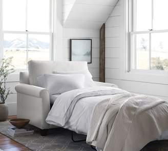 Pottery Barn PB Comfort Roll Arm Upholstered Twin Sleeper Sofa with Memory Foam Mattress