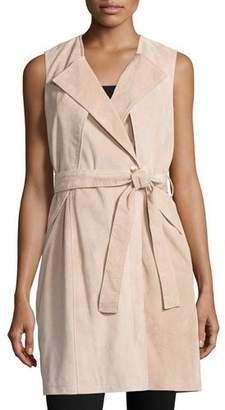 Neiman Marcus Belted Suede Trench Vest, Blush $495 thestylecure.com