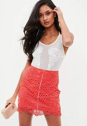 Missguided Coral Lace Mini skirt
