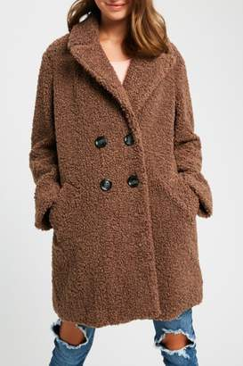 Listicle Shearling Button Down Coat