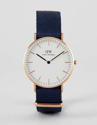 Daniel Wellington Bayswater Watch in Rose Gold with Canvas Strap 36mm