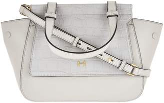 c615c165e0 Halston H By H by Crossbody Satchel with Croco Embossed Flap