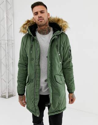 Pull&Bear fleece lined parka with fur trim hood in khaki