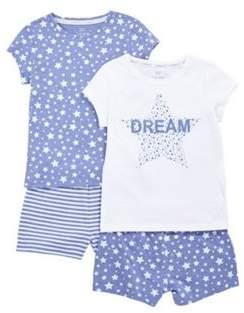 F&F 2 Pack Of Dream And Star Print Pyjama Sets 3-4 years