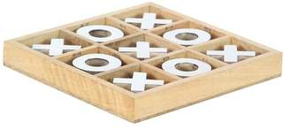 Brimfield & May Rustic Wood and Brass Tic Tac Toe Game Set, Silver and Light Brown