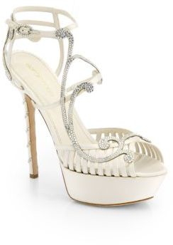 Sergio Rossi Crystal-Coated Satin Sandals